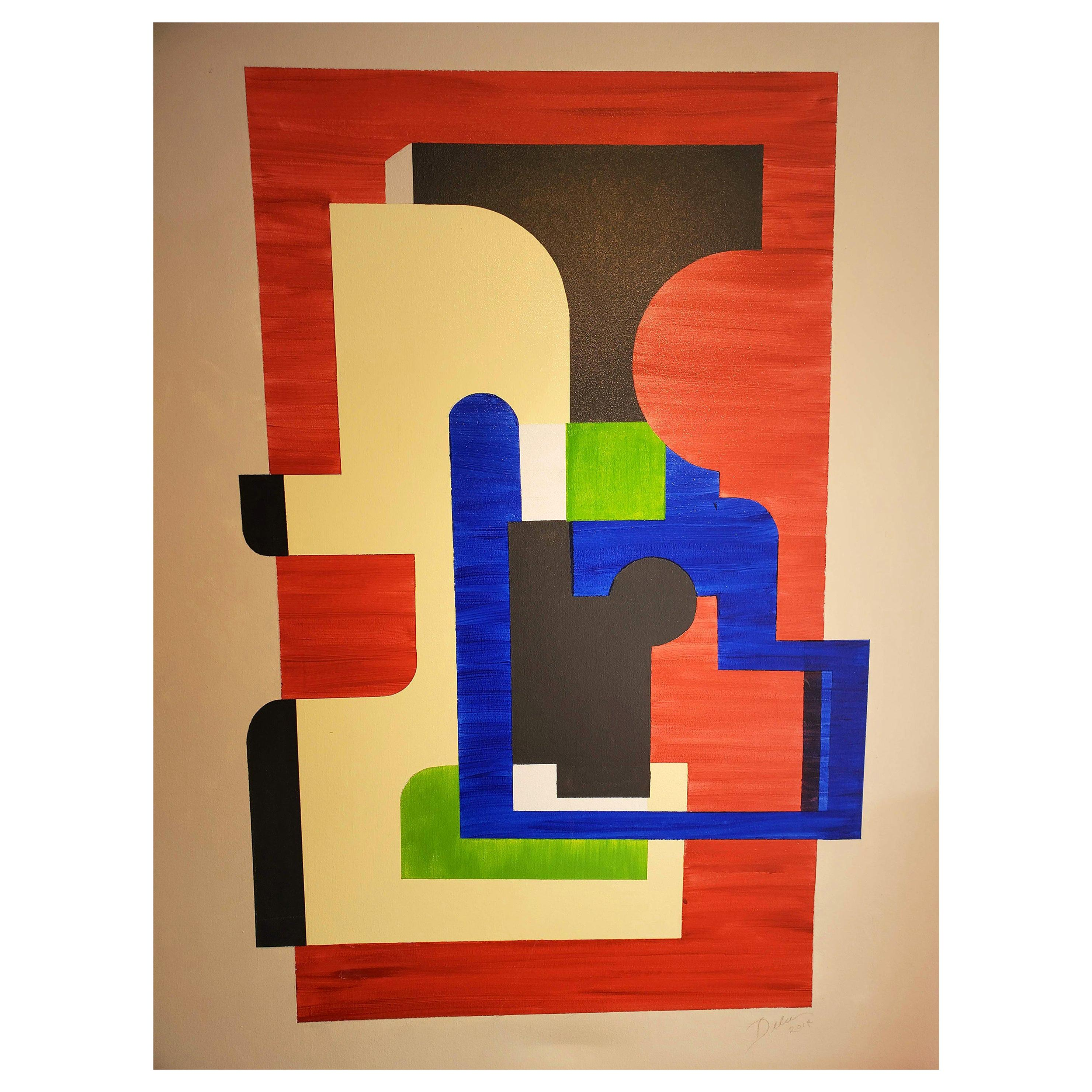 """""""Exit"""" Geometric Abstract Mixed-Media Painting, Red, Blue, Black, Green"""