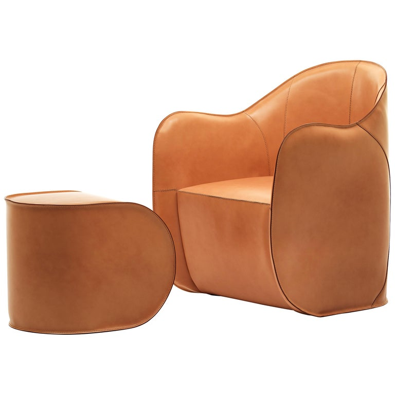 Exo Armchair and Pouf Set For Sale