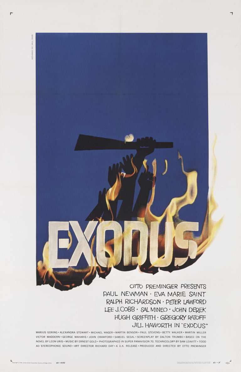 Original US movie poster for Otto Preminger's 1960 drama directed by Paul Newman. The art work is by the legendary American graphic artist Saul Bass (1920-1996). This poster is conservation linen backed and would be shipped rolled in a strong