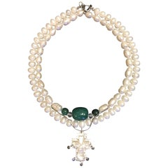 Exolette Double Strand Pearl & Jade Necklace with Mother of Pearl Vintage Cross