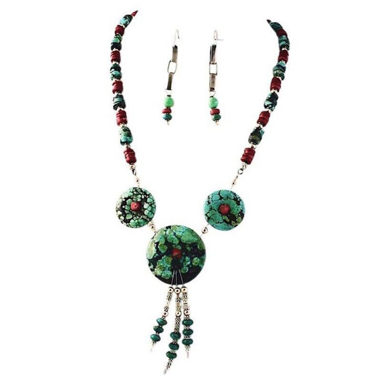 Exolette Figured Turquoise Red Coral Green Turquoise Necklace Earring Set In New Condition For Sale In Pahrump, NV