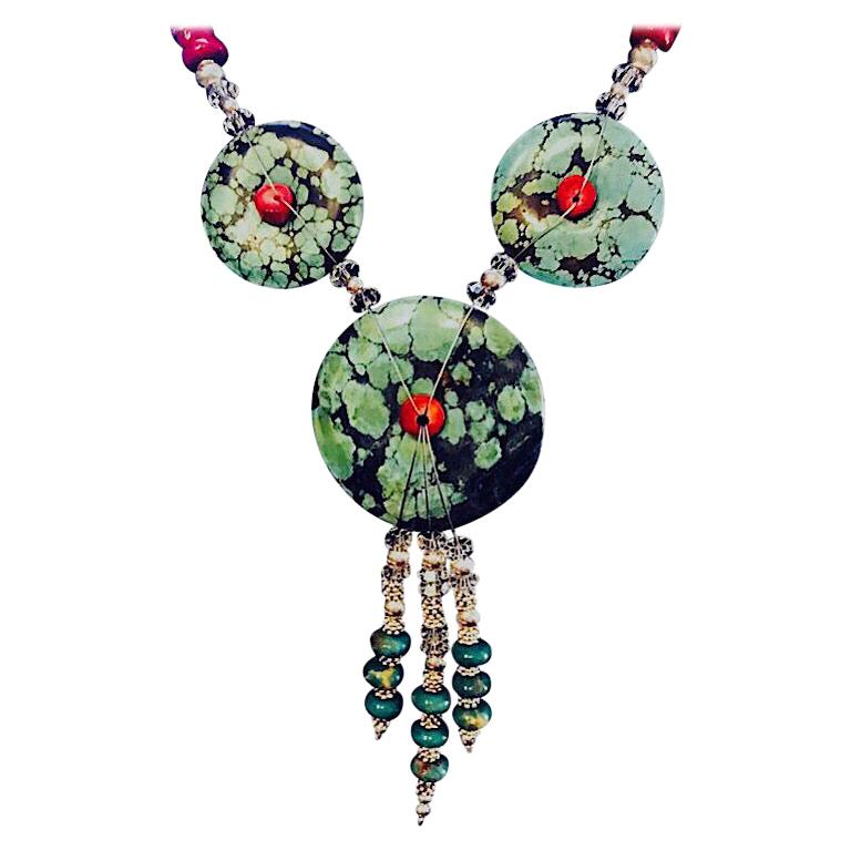 Exolette Figured Turquoise Red Coral Green Turquoise Necklace Earring Set For Sale