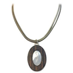 Native American MOP Ironwood Silver Pendant on a Double-Braided Silver Chain