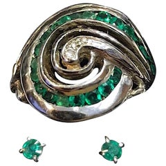 Exolette Spiral Galaxy 14K White Gold Emerald Diamond Ring with Matching Studs