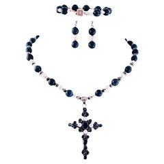 Exolette Tanzanite Lapis Pearl Cross Pendant Necklace Bracelet Earring Suite