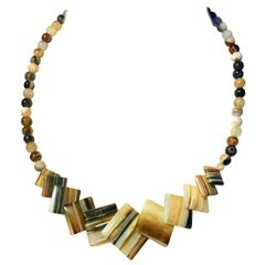 Vintage Geometric Necklace of Striped Agate Squares & Matched Round Agate Beads