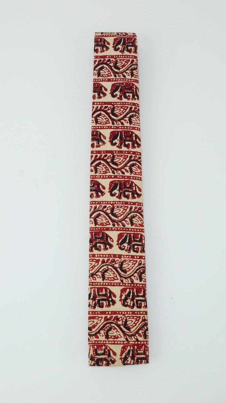 Brown Exotic 1960's Skinny Square Men's Necktie With Elephant Motif For Sale