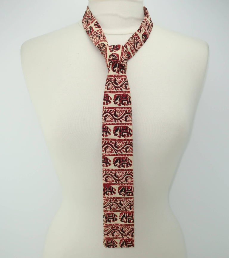 Exotic 1960's Skinny Square Men's Necktie With Elephant Motif For Sale 3