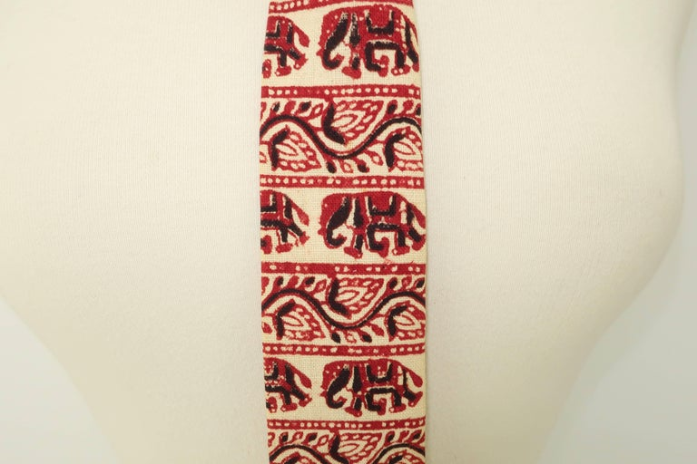 Exotic 1960's Skinny Square Men's Necktie With Elephant Motif For Sale 4