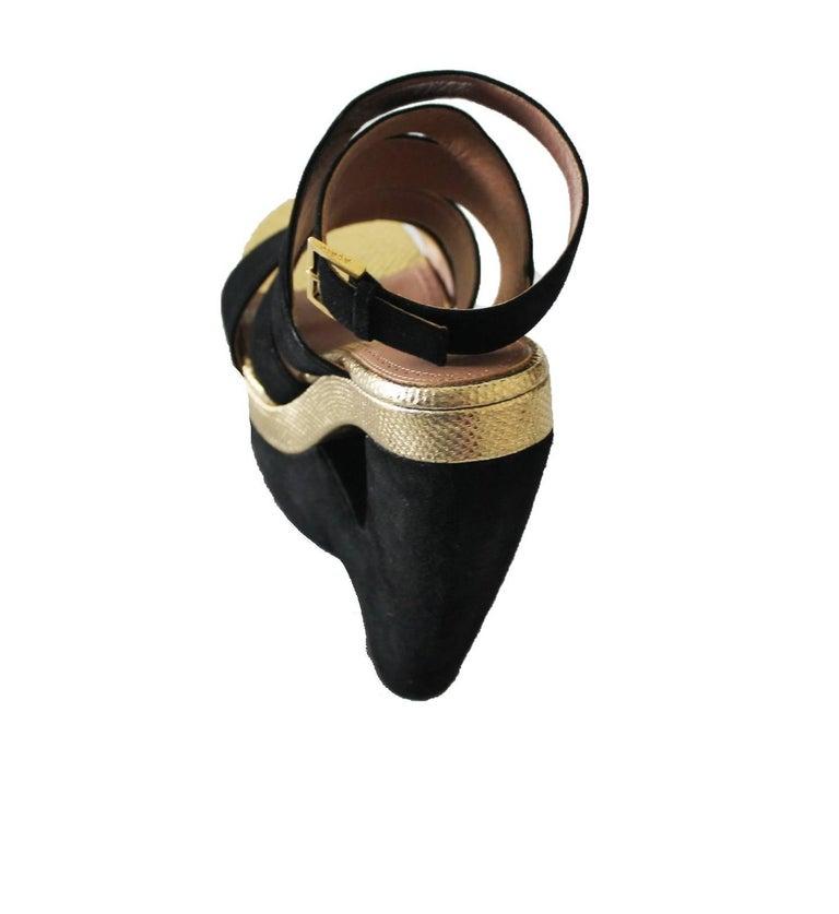 Women's Exotic Alaia Black Suede Golden Lizard Skin Cutout Wedges For Sale