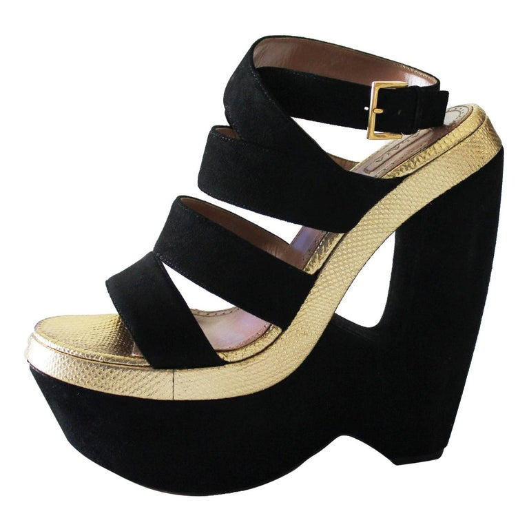 Exotic Alaia Black Suede Golden Lizard Skin Cutout Wedges For Sale