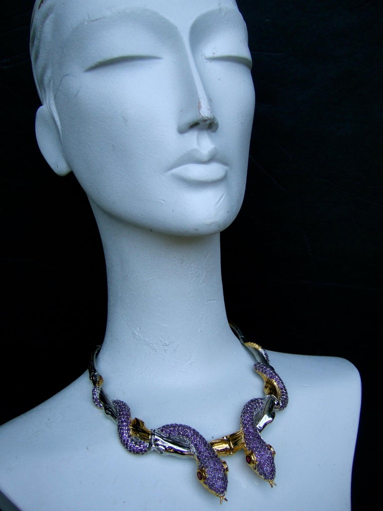 Exotic Amethyst Articulated Sterling Serpent Choker Necklace  21st c For Sale 7