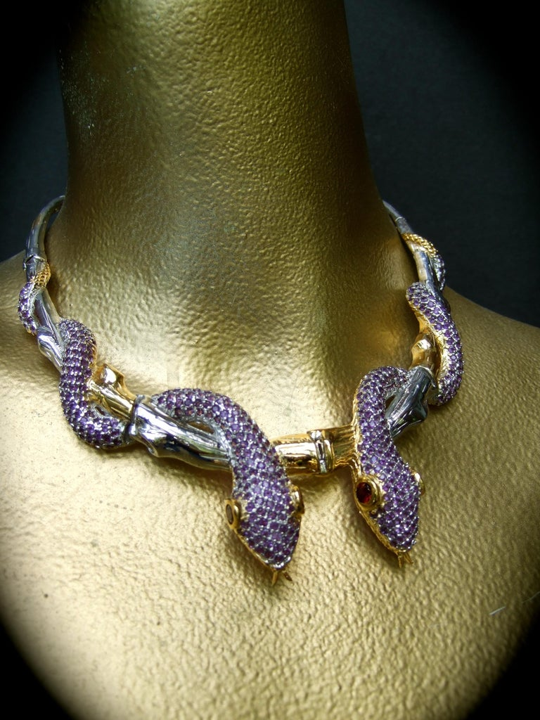 Exotic Amethyst Articulated Sterling Serpent Choker Necklace  21st c For Sale 10