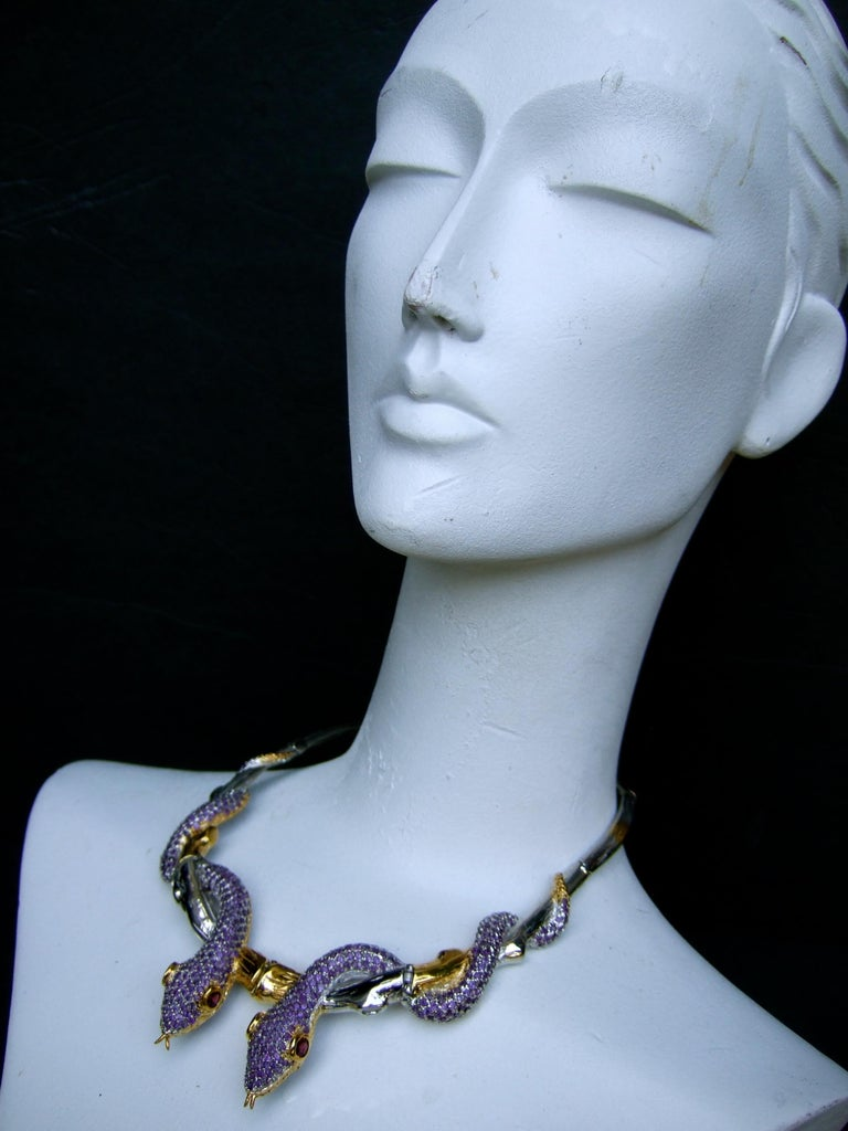 Exotic Amethyst Articulated Sterling Serpent Choker Necklace  21st c For Sale 12
