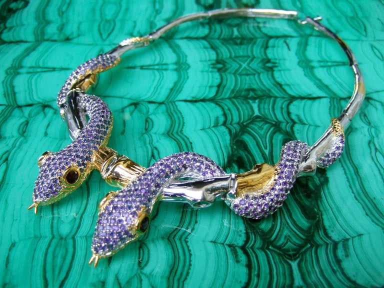 Exotic Amethyst Articulated Sterling Serpent Choker Necklace  21st c In Excellent Condition For Sale In Santa Barbara, CA