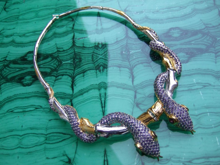 Exotic Amethyst Articulated Sterling Serpent Choker Necklace  21st c For Sale 1