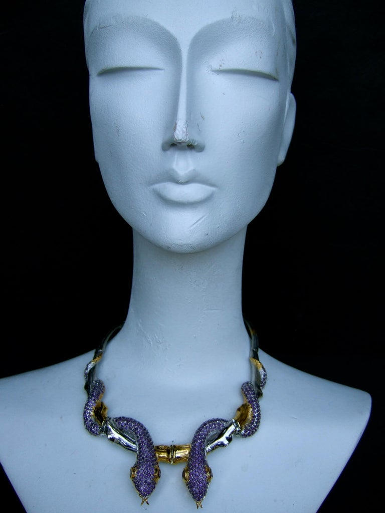 Exotic Amethyst Articulated Sterling Serpent Choker Necklace  21st c For Sale 3