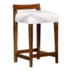 Exotic Argentine Rosewood Leather Counter Stool from Costantini, Umberto