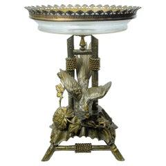 Exotic Bird Metal and Crystal Centerpiece
