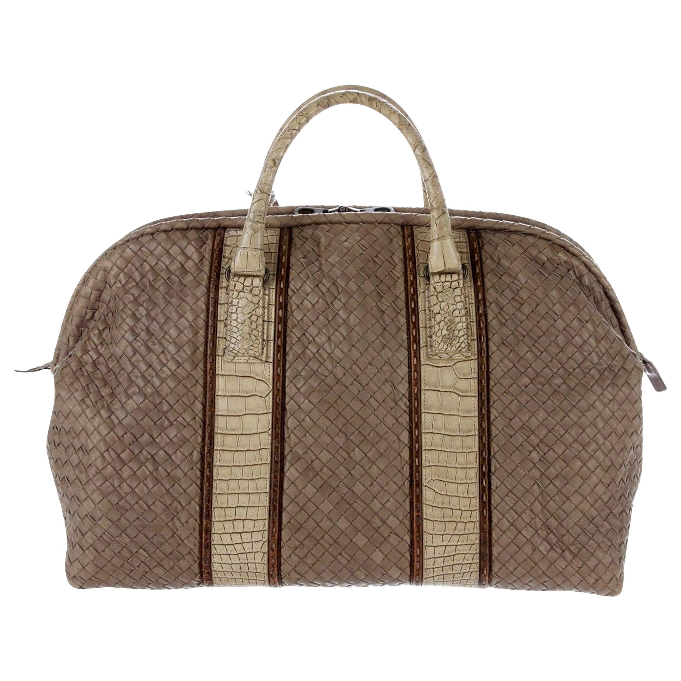 Exotic Bottega Veneta Intrecciato & Crocodile Weekender Travel Bag