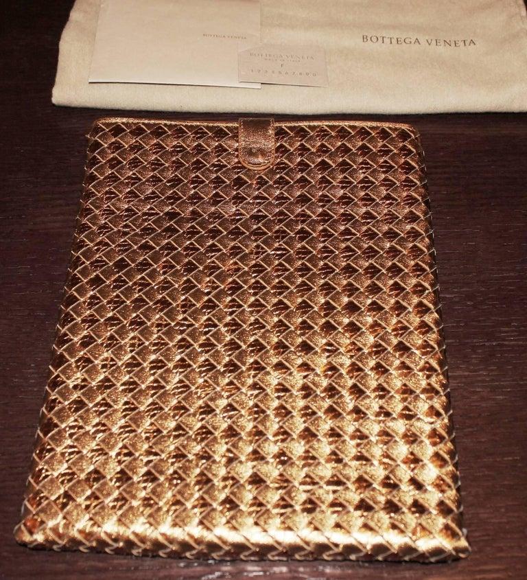 Orange NEW Bottega Veneta Exotic Skin Metallic Intrecciato Ayers Oro Bruciato Ipad Case For Sale