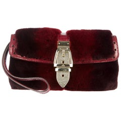 Exotic Burgundy Gucci Fur & Lizard Skin Bag with Crystal-Encrusted Clasp