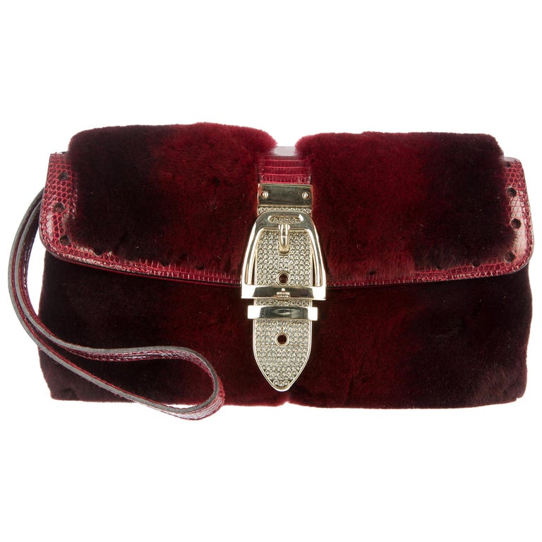 Exotic Burgundy Gucci Fur & Lizard Skin Bag with Crystal-Encrusted Clasp For Sale