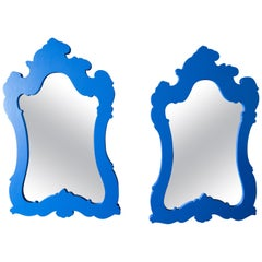 Two Chinoiserie or Moroccan Blue Framed Mirrors