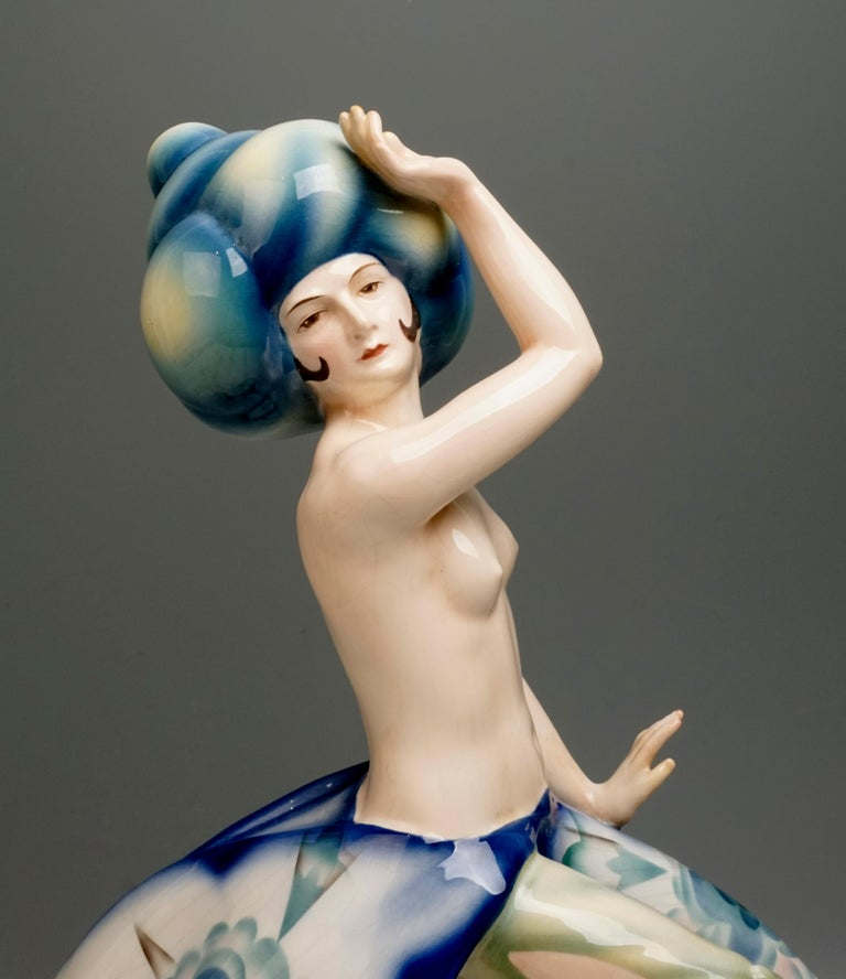Early 20th Century Exotic Dancer with a Large Turban by Josef Kostial, Goldscheider Vienna