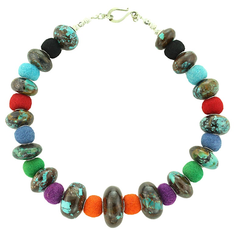 Exotic Graduated Turquoise Rondelles with Colorful Felted Wool Necklace For Sale 5