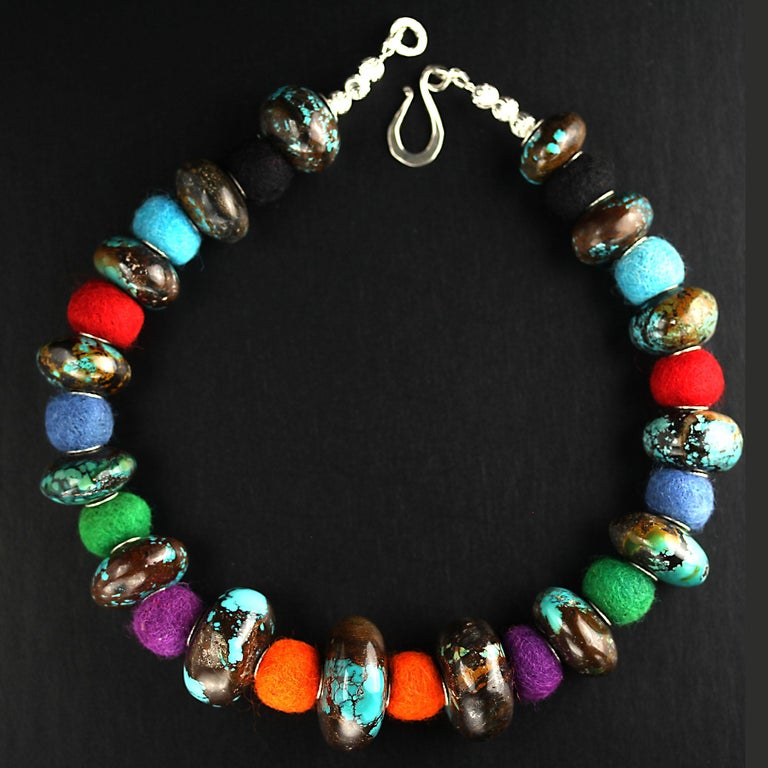 Exotic Graduated Turquoise Rondelles with Colorful Felted Wool Necklace For Sale 6