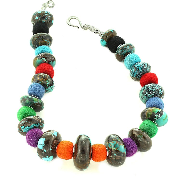 Exotic Graduated Turquoise Rondelles with Colorful Felted Wool Necklace For Sale 2