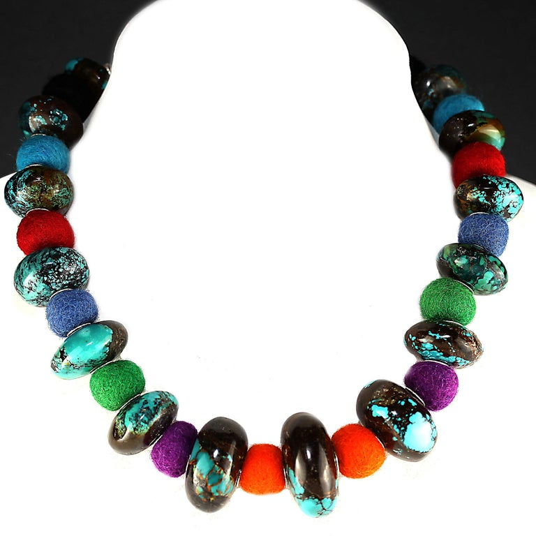 Exotic Graduated Turquoise Rondelles with Colorful Felted Wool Necklace For Sale 3