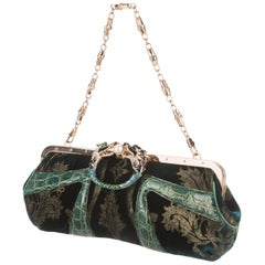 Exotic Gucci by Tom Ford 2004 Bamboo Velvet Dragon Encrusted Crystal Bag Clutch