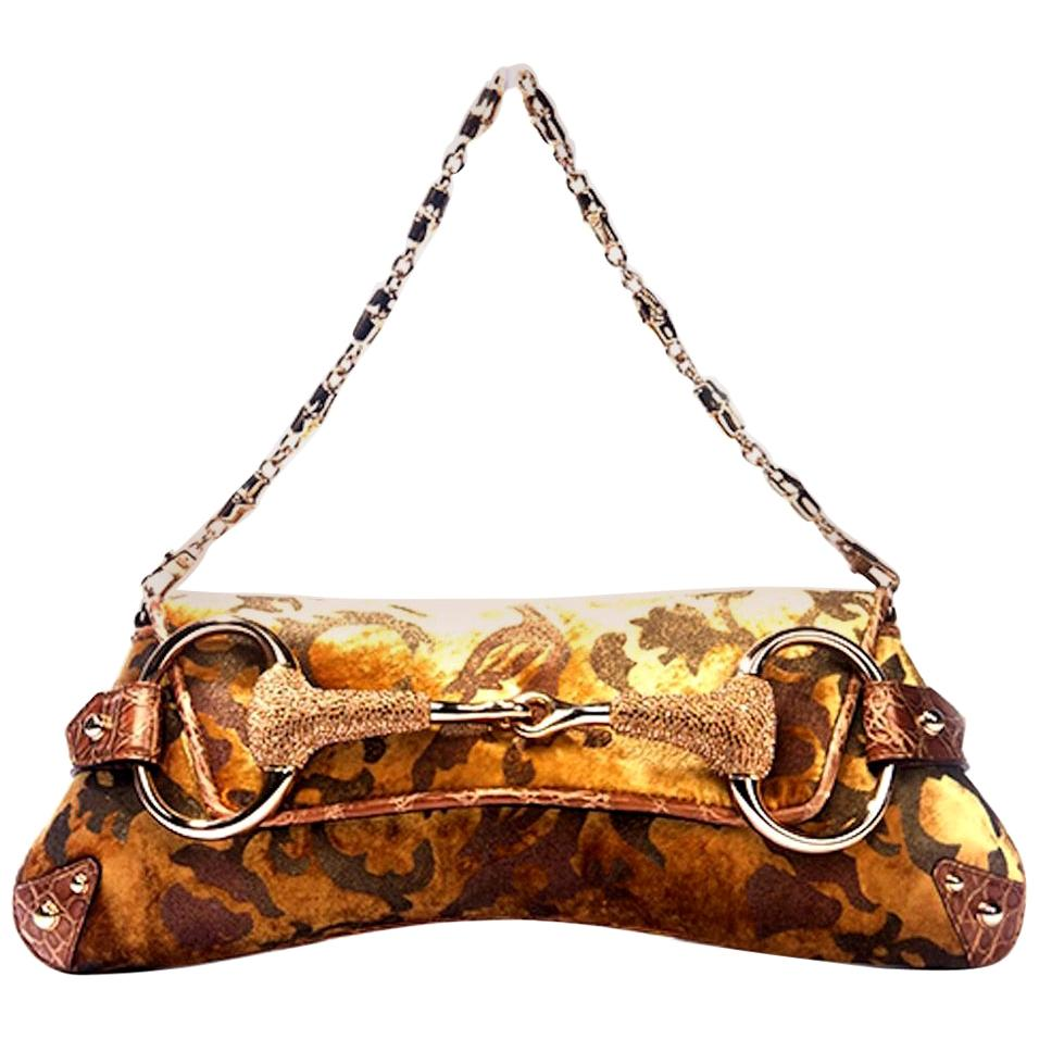 Exotic Gucci by Tom Ford 2004 XXL Velvet Crystal Encrusted Horsebit Clutch