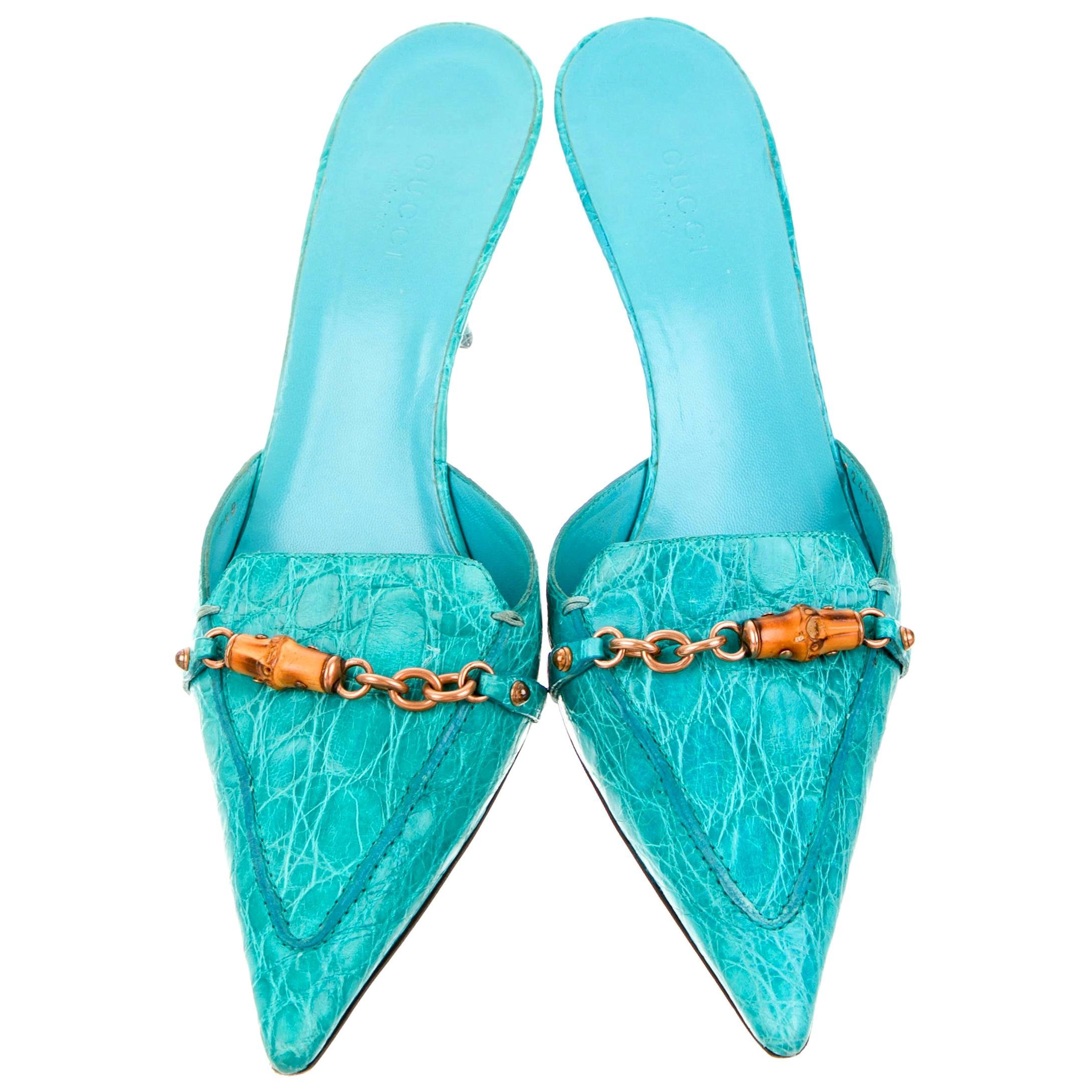 Gucci Exotic Skin Turquoise Aqua Skin Bamboo Chain Mules Kitten Heels Shoes