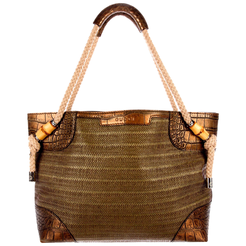 Exotic Gucci Woven Bamboo Details Crocodile Trimming Shopper Shoulder Bag Tote