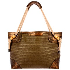 Exotic Gucci Woven Bamboo Details Crocodile Trimming Shopper Shoulder Bag Tote