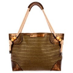 Exotic Gucci Woven Bamboo Details Shopper Shoulder Bag Tote