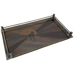 Exotic Hardwood Inlaid Glass and Nickel Art Deco Tray with Faun