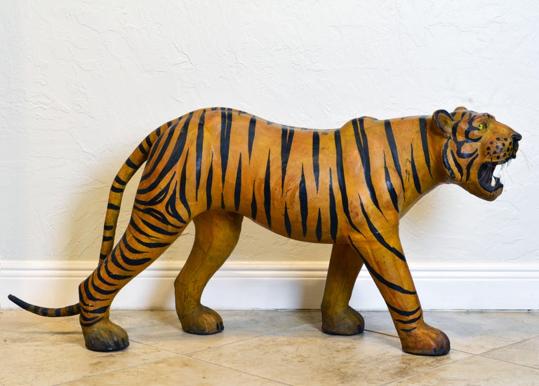 Anglo-Indian Exotic Huge Anglo Indian Leather Wrapped Sculpture of a Bengal Tiger For Sale
