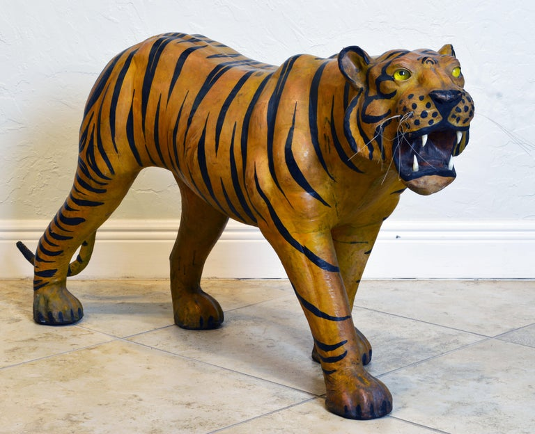 Exotic Huge Anglo Indian Leather Wrapped Sculpture of a Bengal Tiger In Good Condition For Sale In Ft. Lauderdale, FL