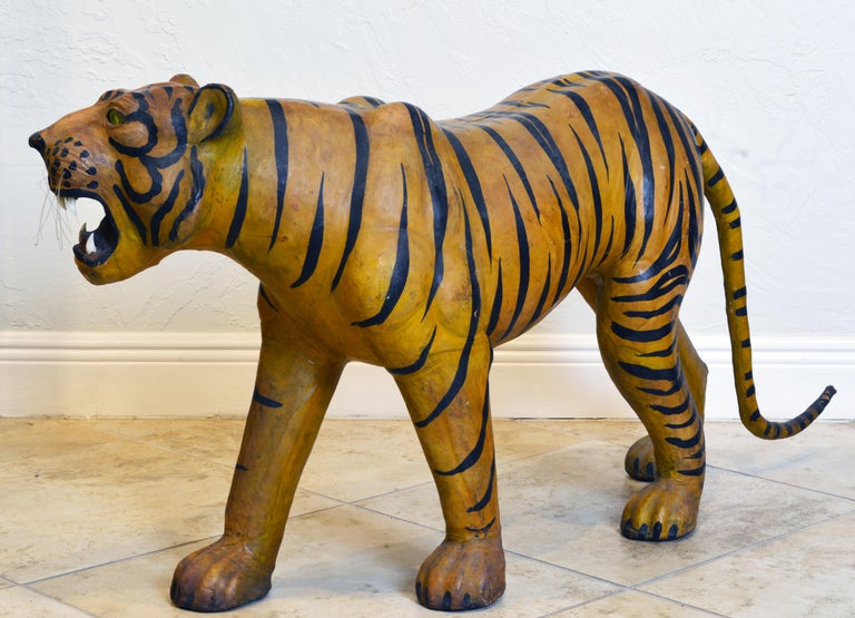 20th Century Exotic Huge Anglo Indian Leather Wrapped Sculpture of a Bengal Tiger For Sale