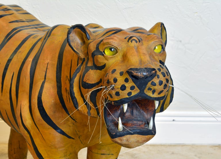 Exotic Huge Anglo Indian Leather Wrapped Sculpture of a Bengal Tiger For Sale 2
