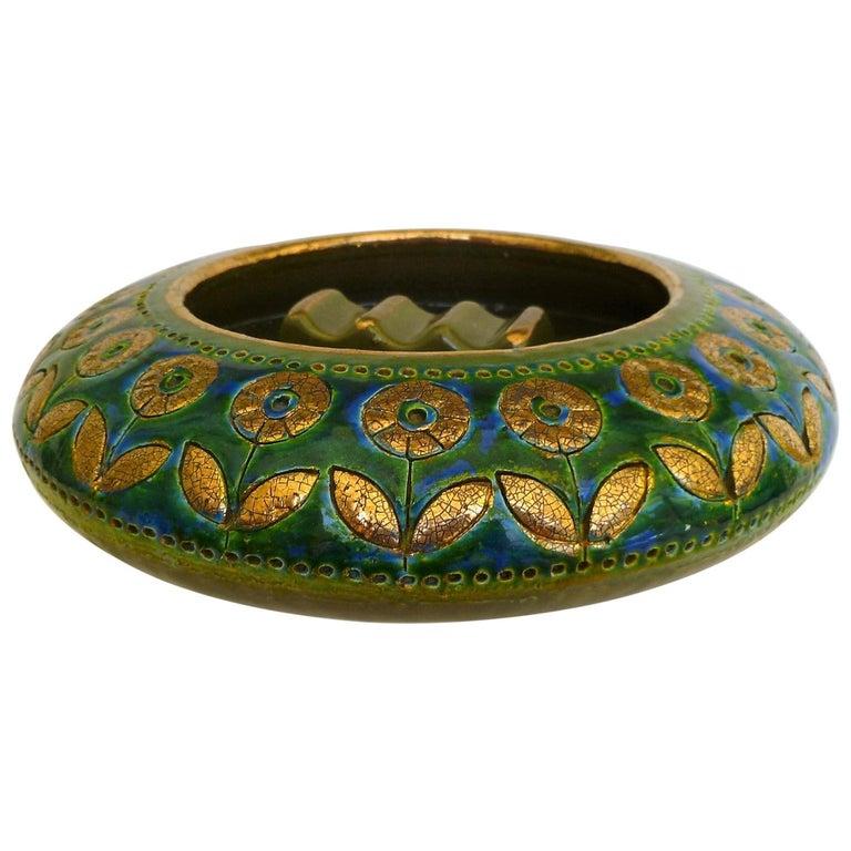 Exotic Mid-Century Modern Thai Silk Ashtray, Aldo Londi for Rosenthal Netter For Sale