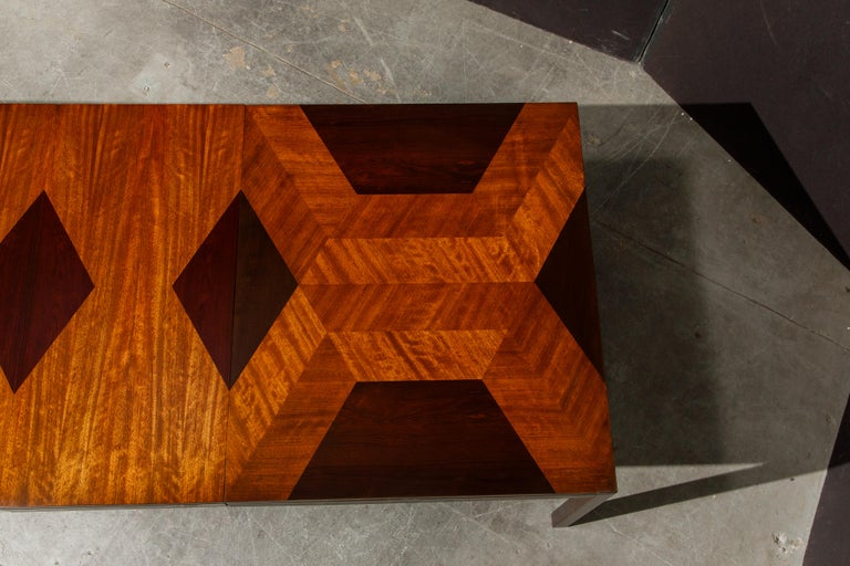 Exotic Mixed Woods Dining Table by Milo Baughman for Directional, circa 1970 For Sale 4