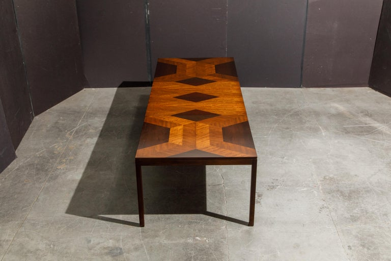 Exotic Mixed Woods Dining Table by Milo Baughman for Directional, circa 1970 For Sale 6