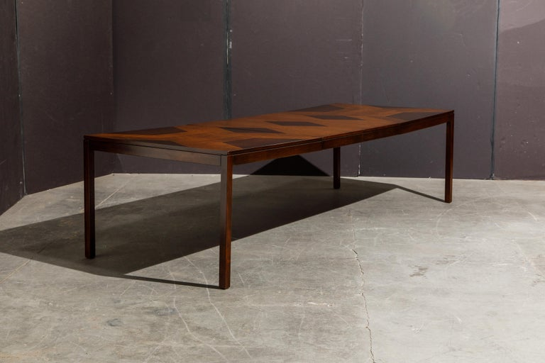 Exotic Mixed Woods Dining Table by Milo Baughman for Directional, circa 1970 For Sale 7