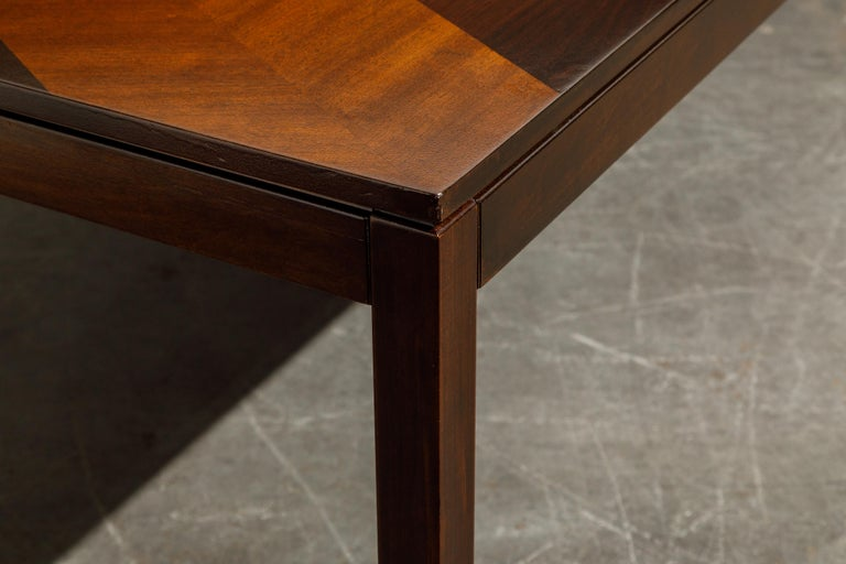 Exotic Mixed Woods Dining Table by Milo Baughman for Directional, circa 1970 For Sale 9