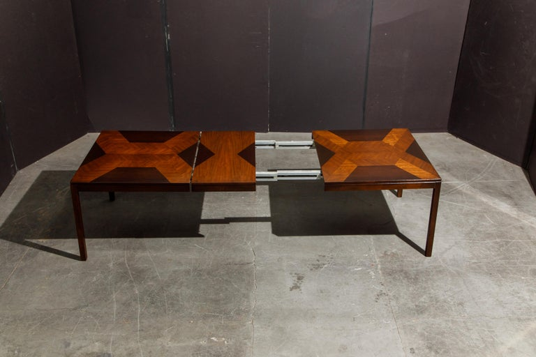 Exotic Mixed Woods Dining Table by Milo Baughman for Directional, circa 1970 For Sale 11